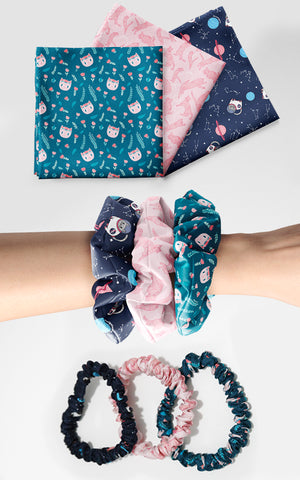 Cat Lady Luxury Silk Set (3 Bandanas + 6 Scrunchies) Featuring Milton