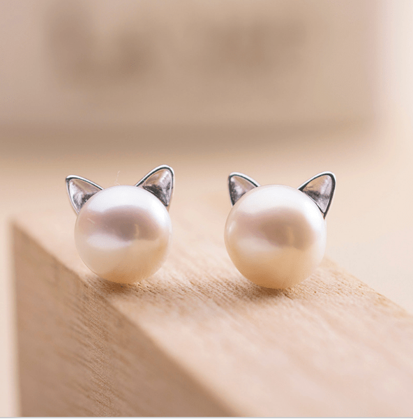 Sterling Silver Pearl Cat Earrings