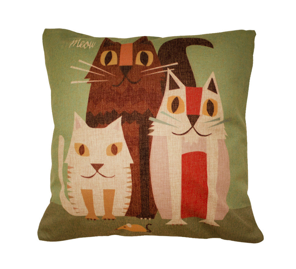 The Cat Family Toss Pillow
