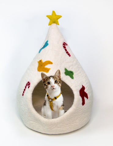 Limited Edition White Christmas Tree Cat Cave