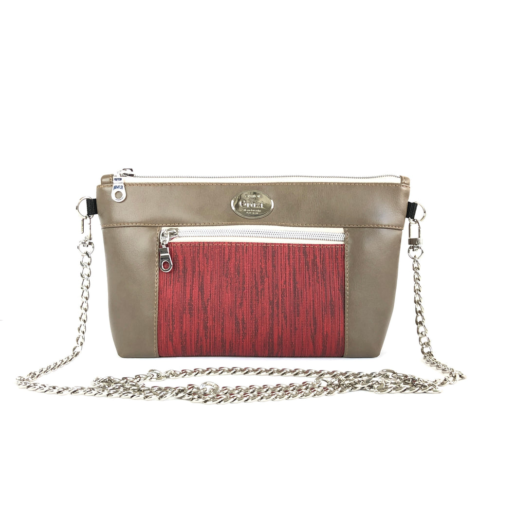 Taupe/Scarlet Chain Faux Leather Crossbody Bag