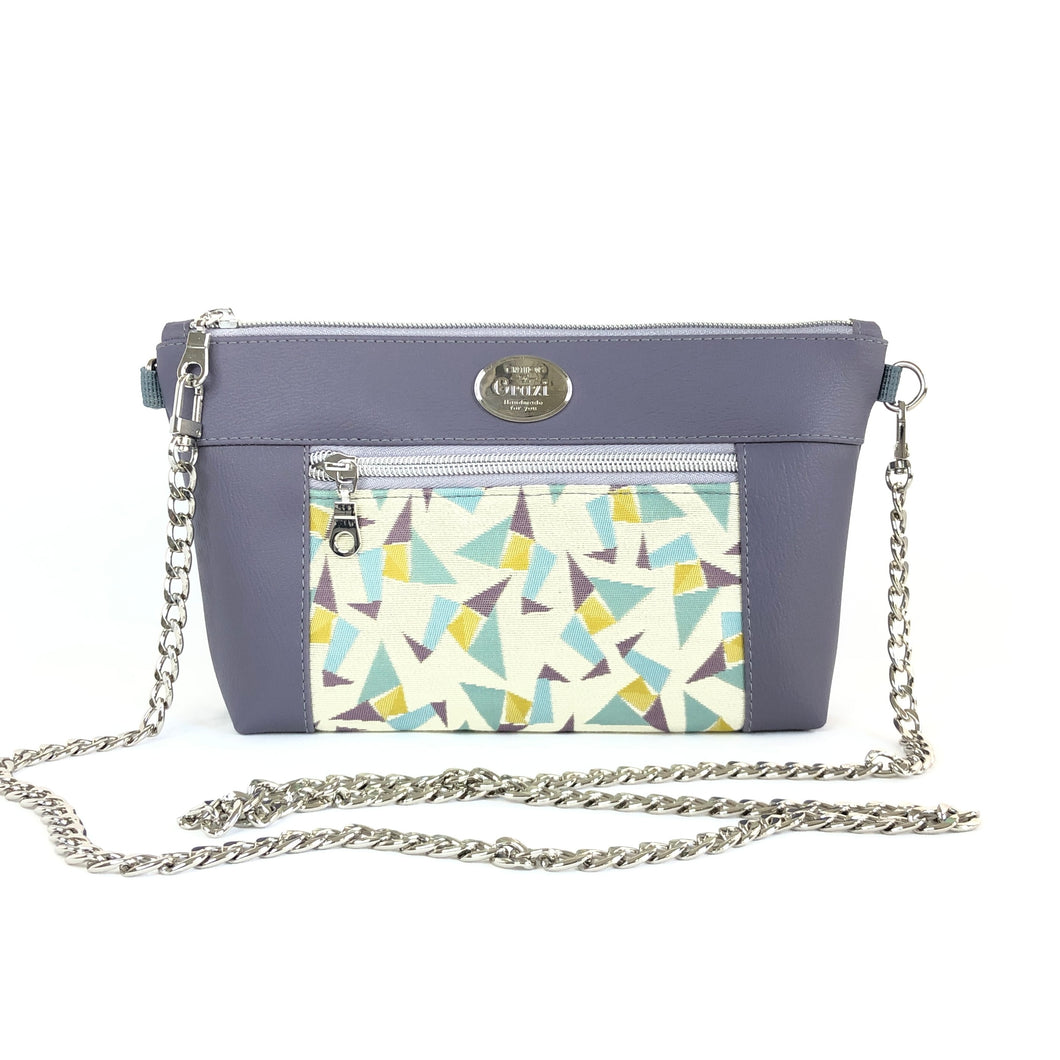 Lavender Purple Chain Faux Leather Crossbody Bag