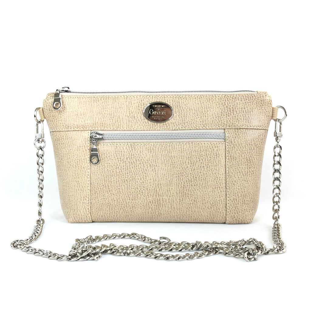 Almond Chain Faux Leather Crossbody Bag