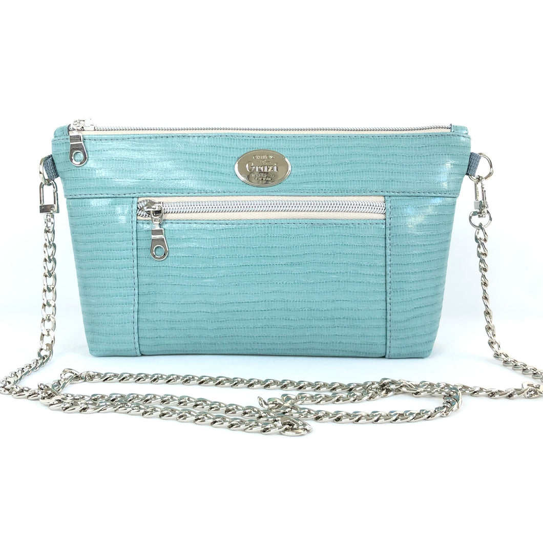 Sky Blue Chain Faux Leather Crossbody Bag