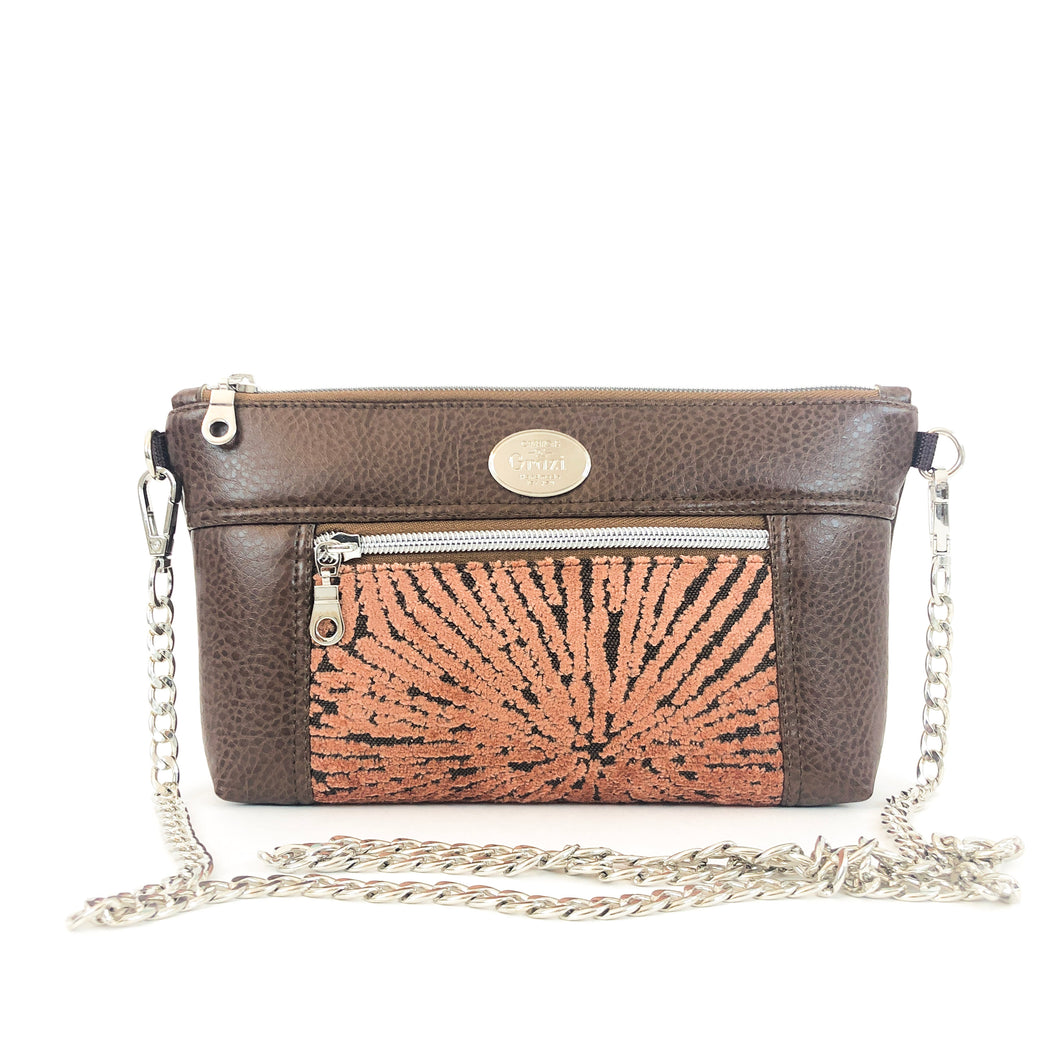 Brown/Rose Chain Faux Leather Crossbody Bag - ONEofaKIND Collection