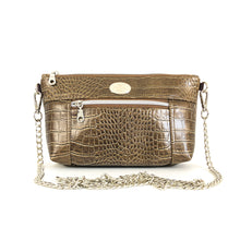 Load image into Gallery viewer, Textured Bronze Chain Faux Leather Crossbody Bag