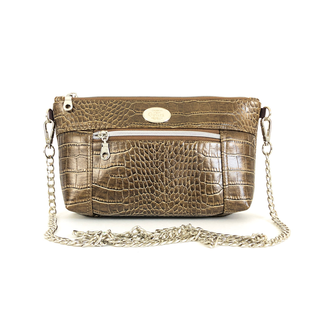 Textured Bronze Chain Faux Leather Crossbody Bag