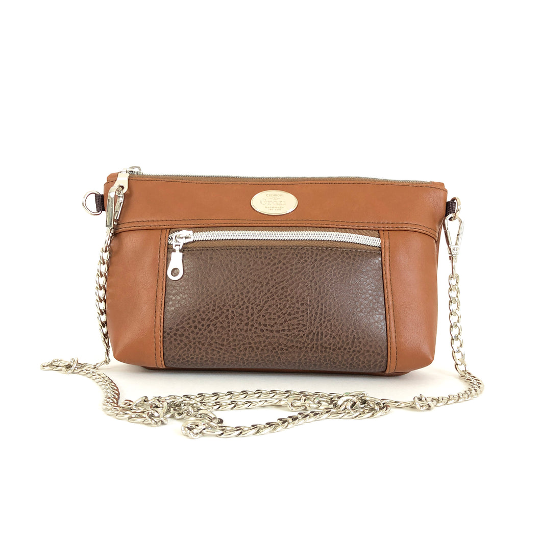 Shades of Brown Chain Faux Leather Crossbody Bag