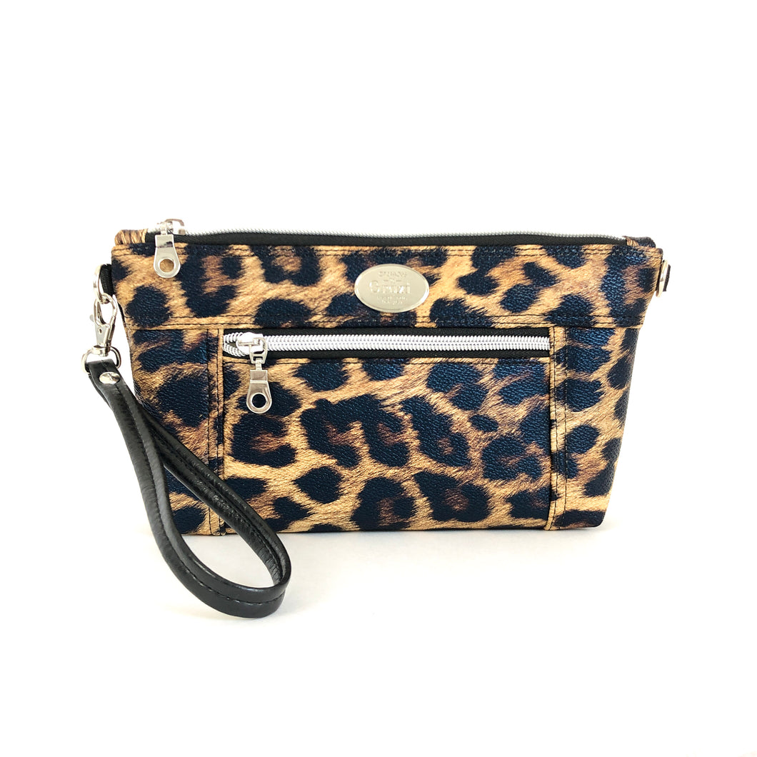 Print Chain Faux Leather Crossbody Bag