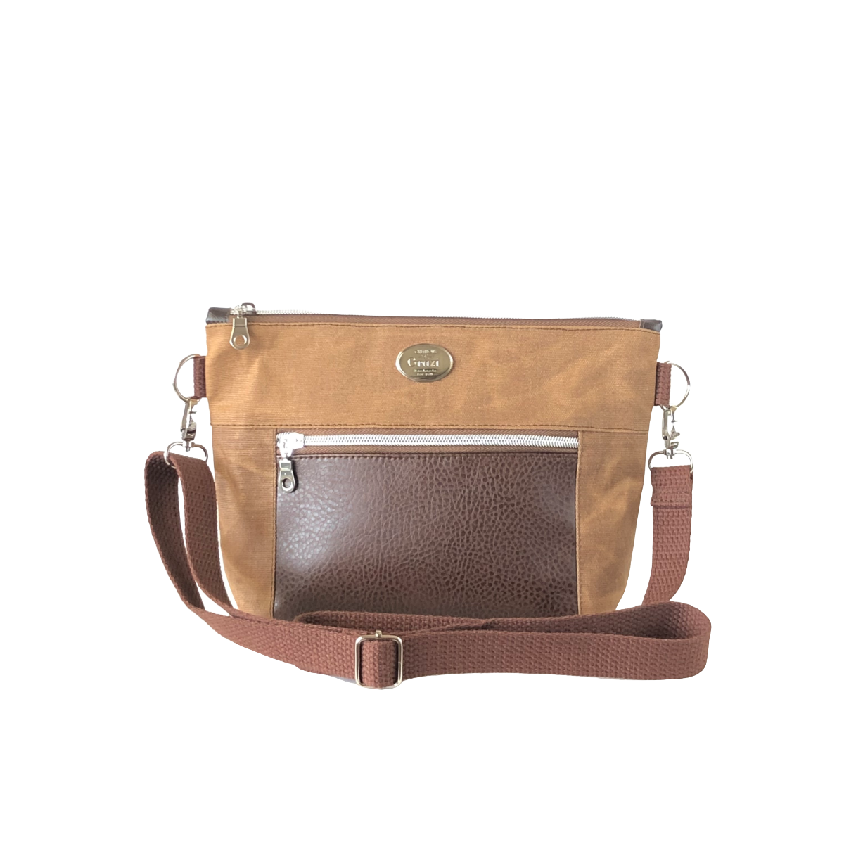 Wax Canvas Faux Leather Crossbody Bag - Cider/Brown