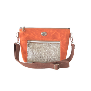 Wax Canvas Faux Leather Crossbody Bag - Burnt Orange/Textured Brown