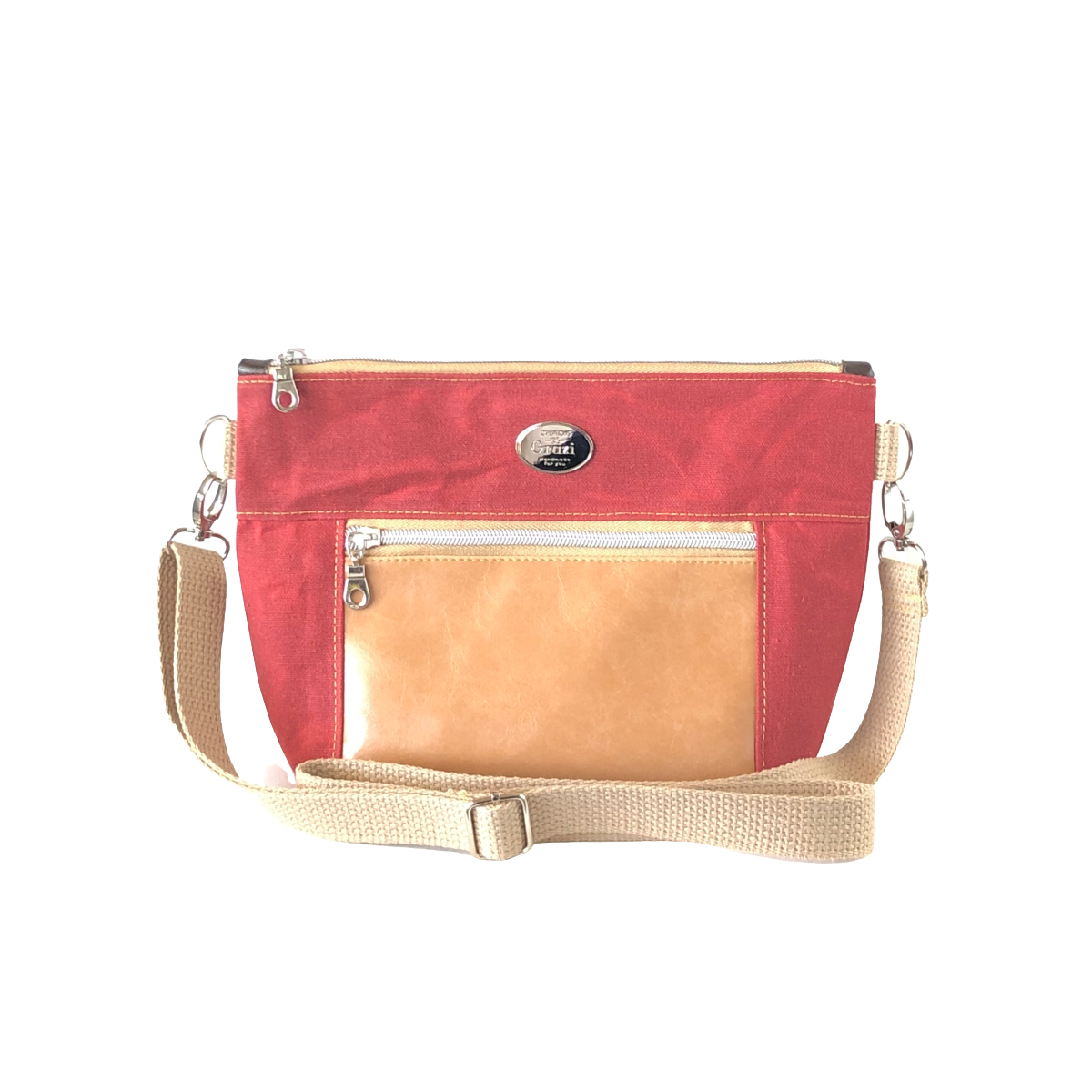 Wax Canvas Faux Leather Crossbody Bag - Ruby/Latte