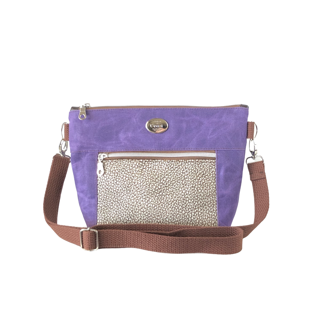 Wax Canvas Faux Leather Crossbody Bag - Purple/Textured Brown