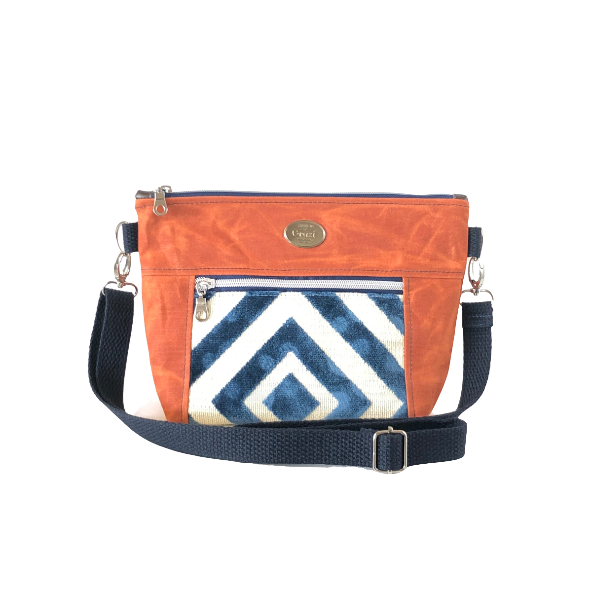 Wax Canvas Faux Leather Crossbody Bag - Burnt Orange/Velvet Navy-Ivory