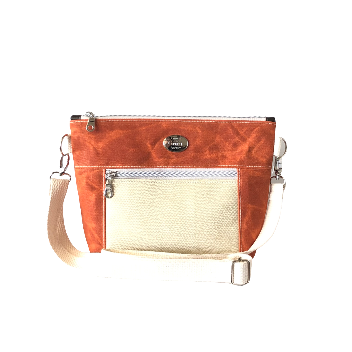 Wax Canvas Faux Leather Crossbody Bag - Burnt Orange/Ivory