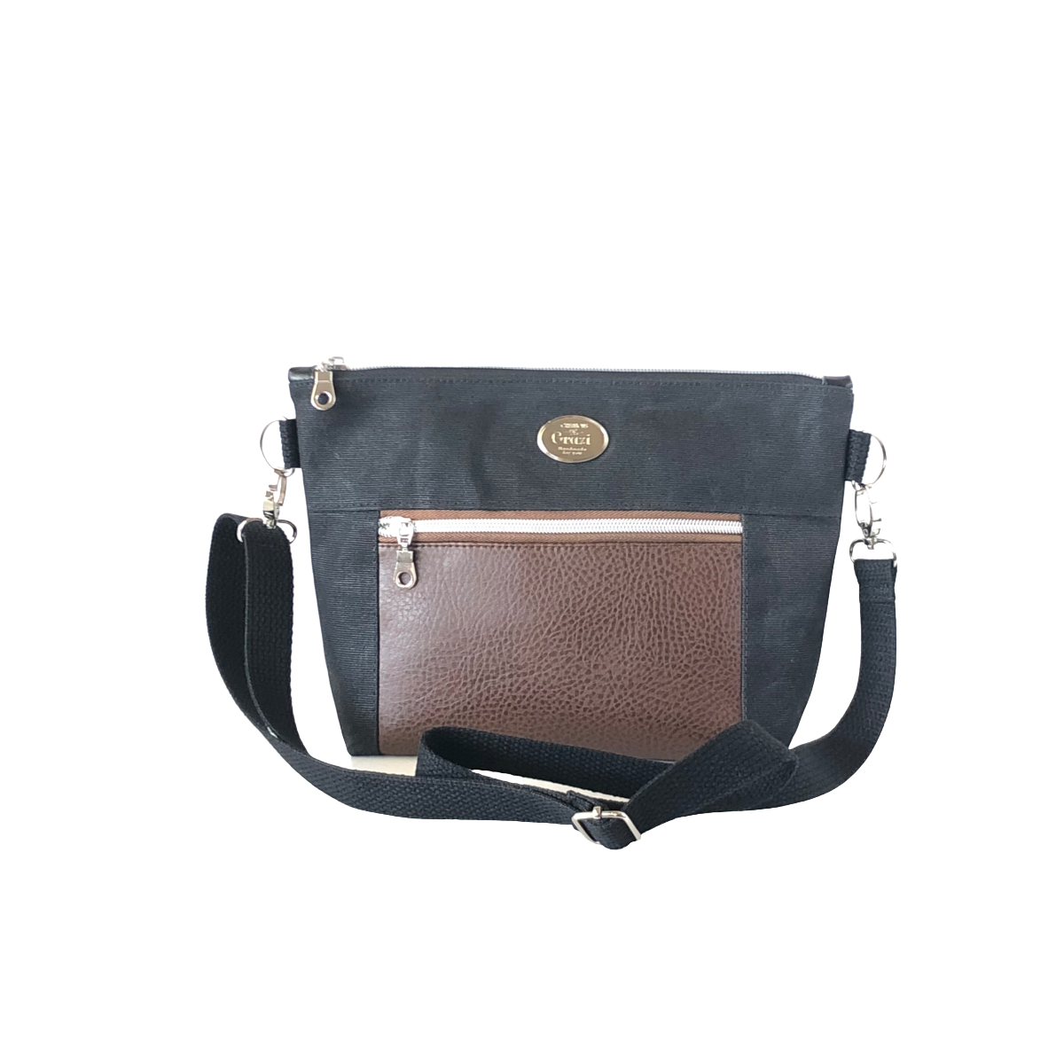 Wax Canvas Faux Leather Crossbody Bag - Black/Brown