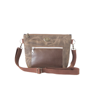 Wax Canvas Faux Leather Crossbody Bag - Mocha/Brown