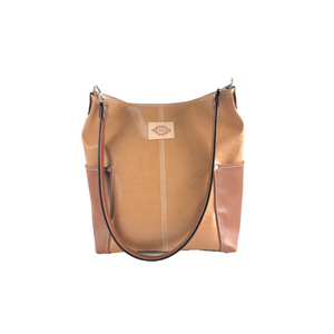 Faux Leather Shoulder Bag with Leather Strap