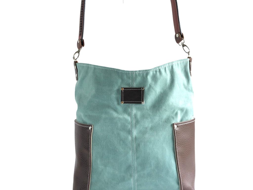 Wax Canvas and Faux Leather Shoulder Bag with Leather Strap