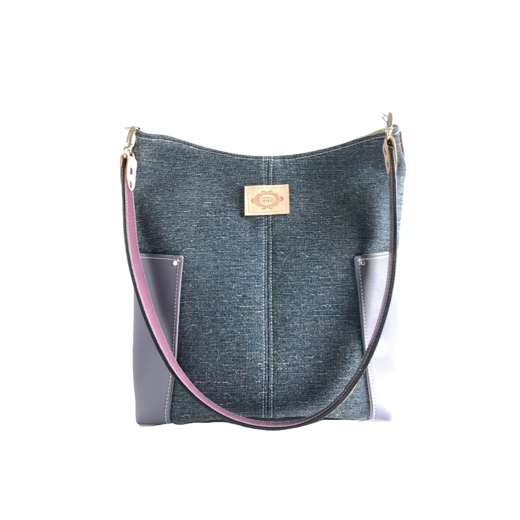 Faux Leather and Fabric Shoulder Bag with Leather Strap