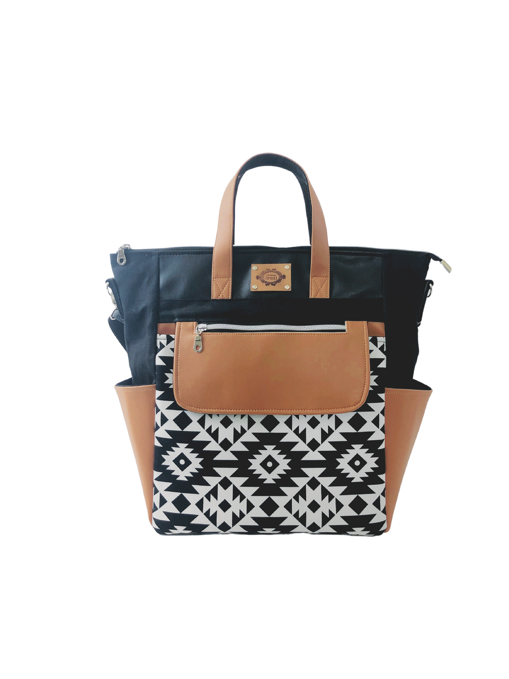 Convertible Travel Tote - Black and White - Part of ONEofaKIND Collection