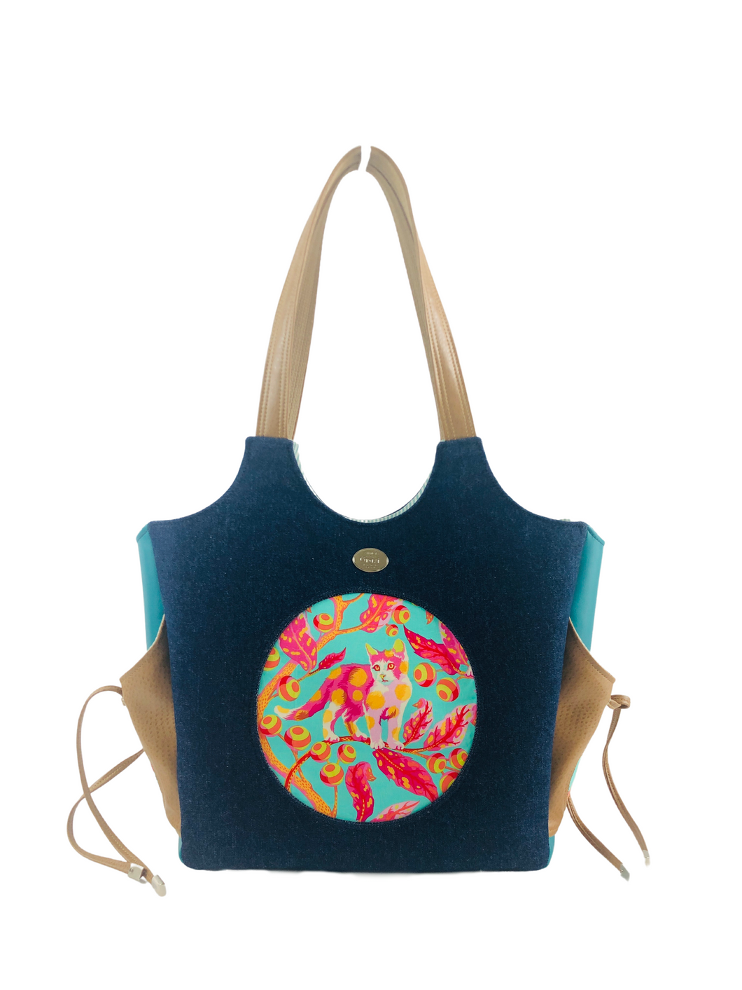 Market Tote - Brave Kitty - ONEofaKIND Collection
