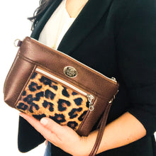 Load image into Gallery viewer, Brown/Rose Chain Faux Leather Crossbody Bag - ONEofaKIND Collection