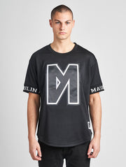 Maskulin Black & White Logo Mesh Crewneck T-Shirt - Maskulin.de Shop