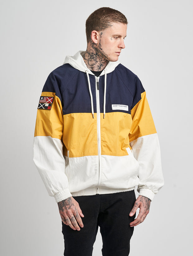 Maskulin Patch Colour Block Windbreaker Blue - Maskulin.de Shop