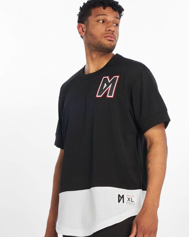 Maskulin Split Logo Mesh Crewneck T-Shirt Black - Maskulin.de Shop