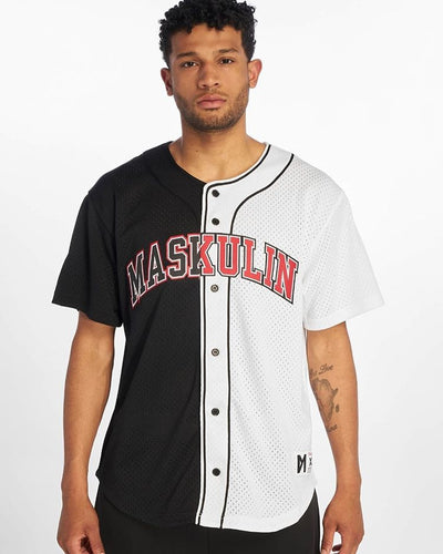 Maskulin Split Baseball T-Shirt Black/White - Maskulin.de Shop