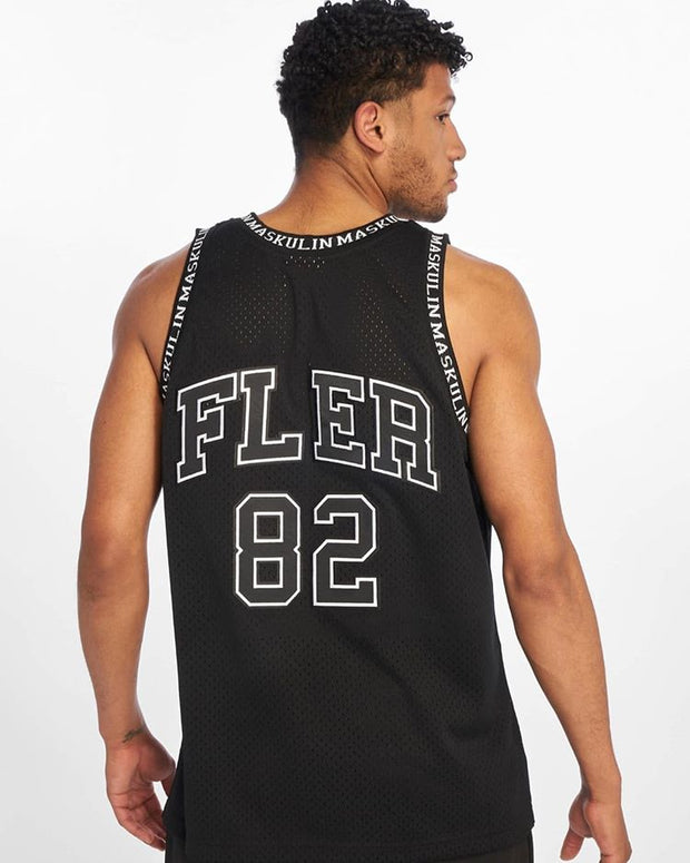 Maskulin Black & White Logo Mesh Basketball Tank Top - Maskulin.de Shop