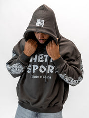 Maskulin Made in China Bootleg Hoody Anthracite & Light Blue - Maskulin.de Shop