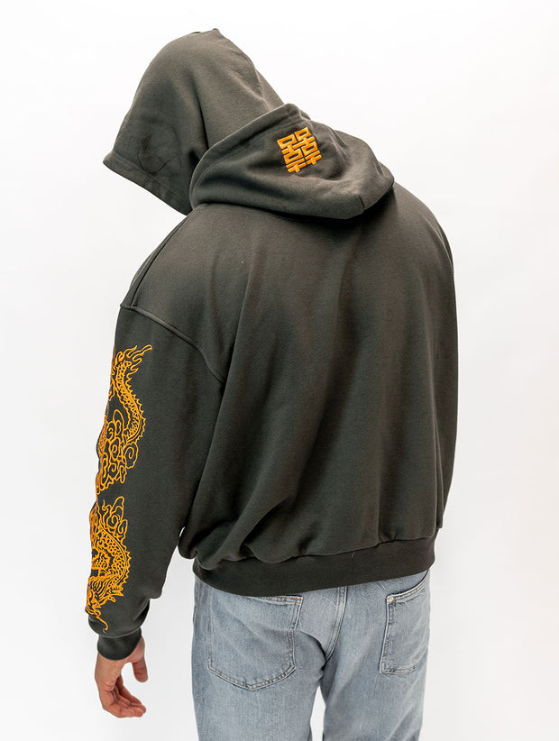 Maskulin Made in China Bootleg Hoody Anthracite & Yellow - Maskulin.de Shop
