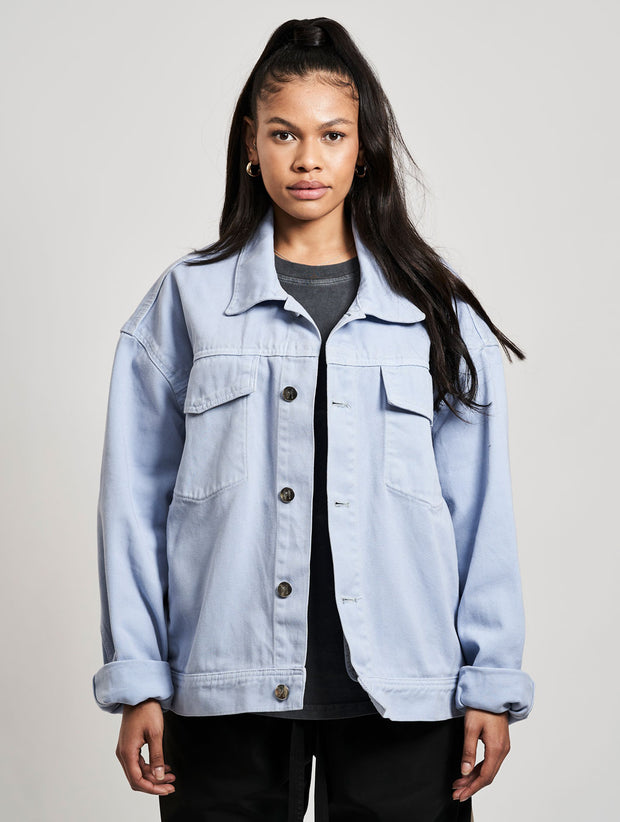 Classic Denim Jacket Washed Baby Blue Skies - Maskulin.de Shop
