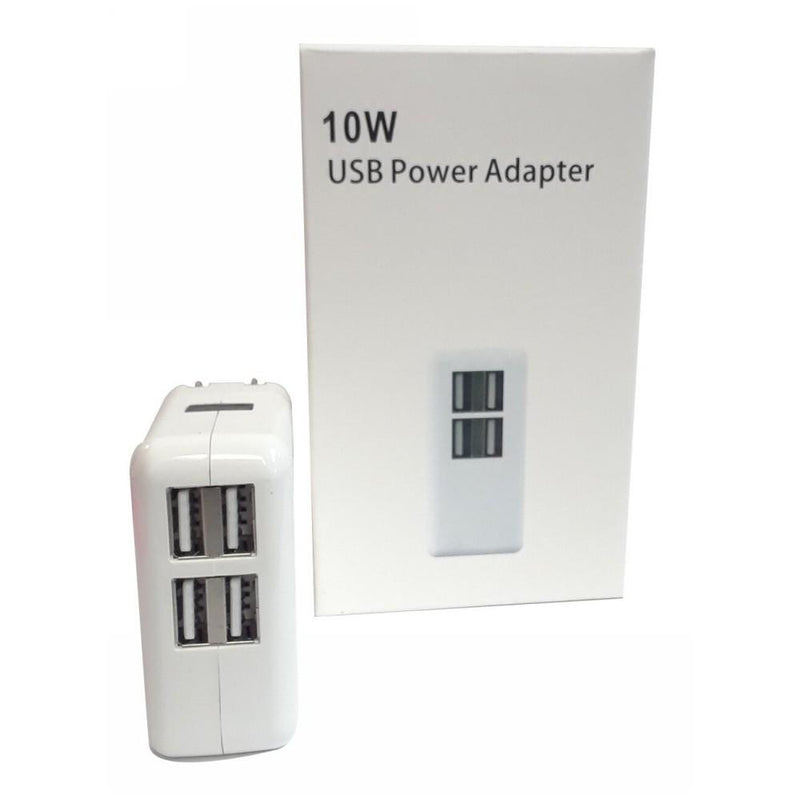 4 Port USB Hub Wall Charger 10w AC Power Adapter Supply Plug Universal, White