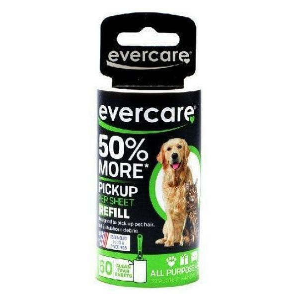 "Evercare Pet Hair Adhesive Roller Refill Roll - 60 Sheets - (29.8' Long x 4"" Wide) - Giftscircle"
