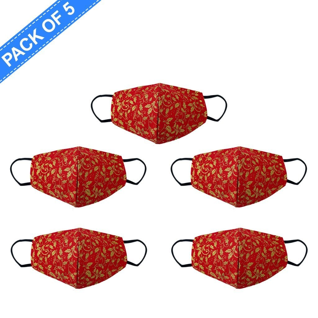 Fancy Cloth Face Mask Holly Red & Gold Pack of 5 by Giftscircle - Giftscircle