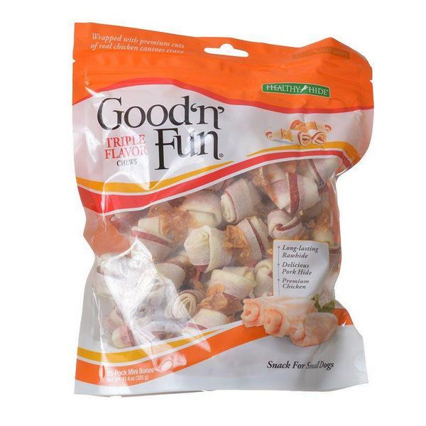Healthy Hide Good 'n' Fun Triple-Flavor Bones - Beef, Pork & Chicken - Mini - 25 Pack - Giftscircle