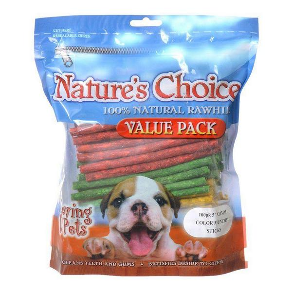 "Loving Pets Nature's Choice Rawhide Munchy Stick Value Pack - 100 Pack (5"" Assorted Munchy Sticks) - Giftscircle"