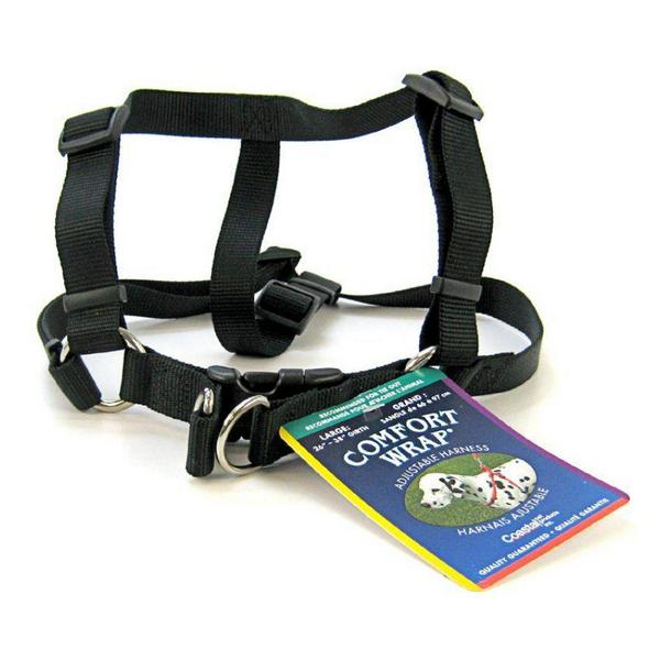 "Tuff Collar Comfort Wrap Nylon Adjustable Harness - Black - Large (Girth Size 26""-40"") - Giftscircle"