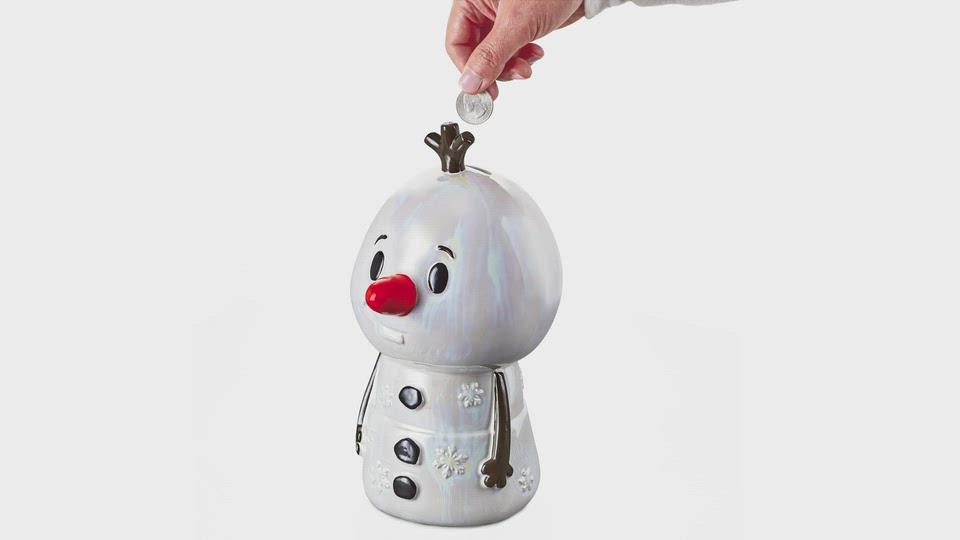 Load and play video in Gallery viewer, Disney Frozen 2 Olaf Ceramic Coin Bank With Sound