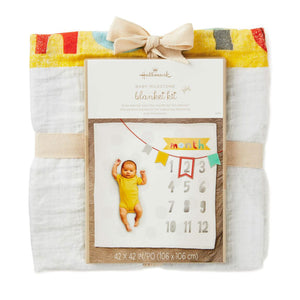 Colorful Banner Month Milestones Baby Blanket
