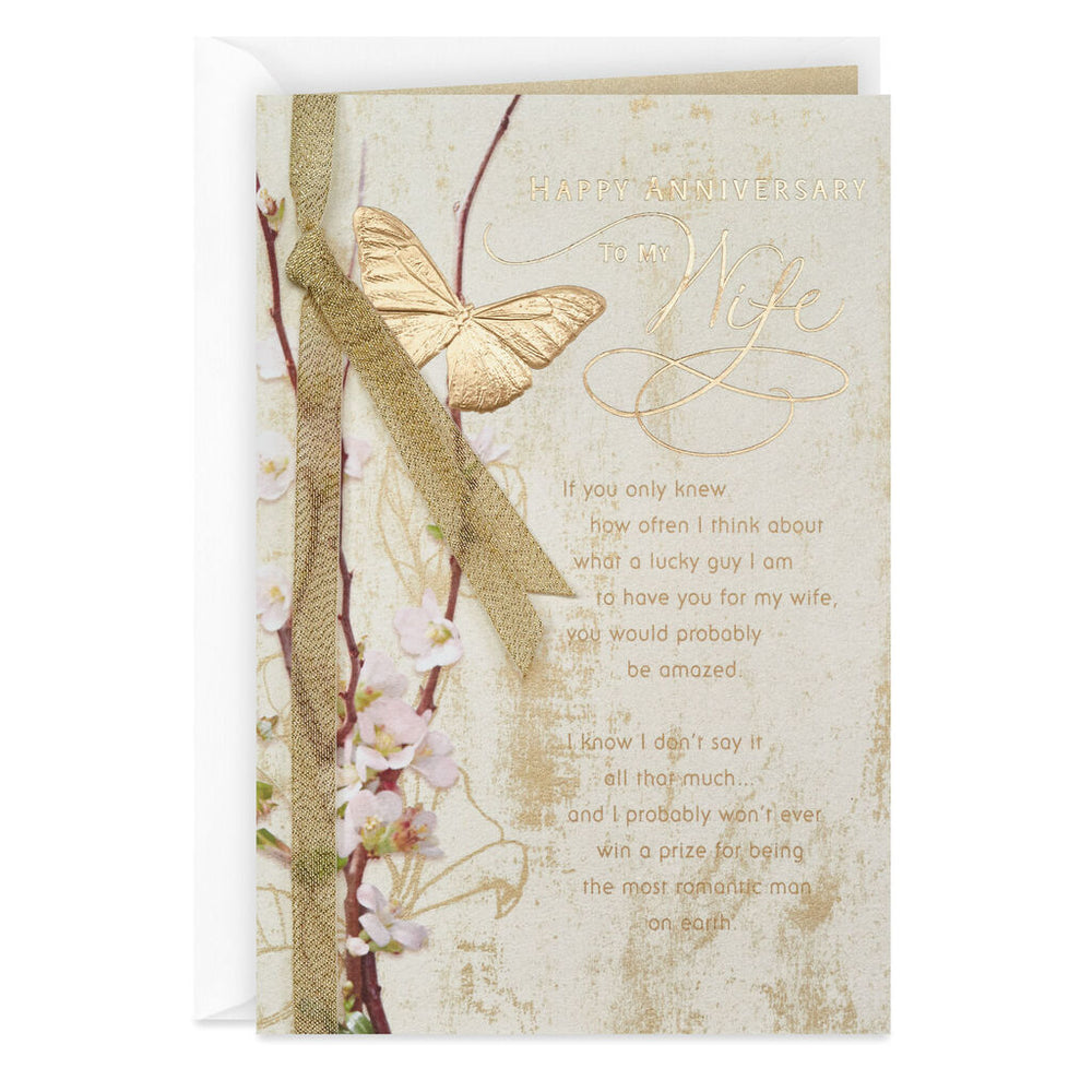 Wife - Gold Butterfly Anniversary Card
