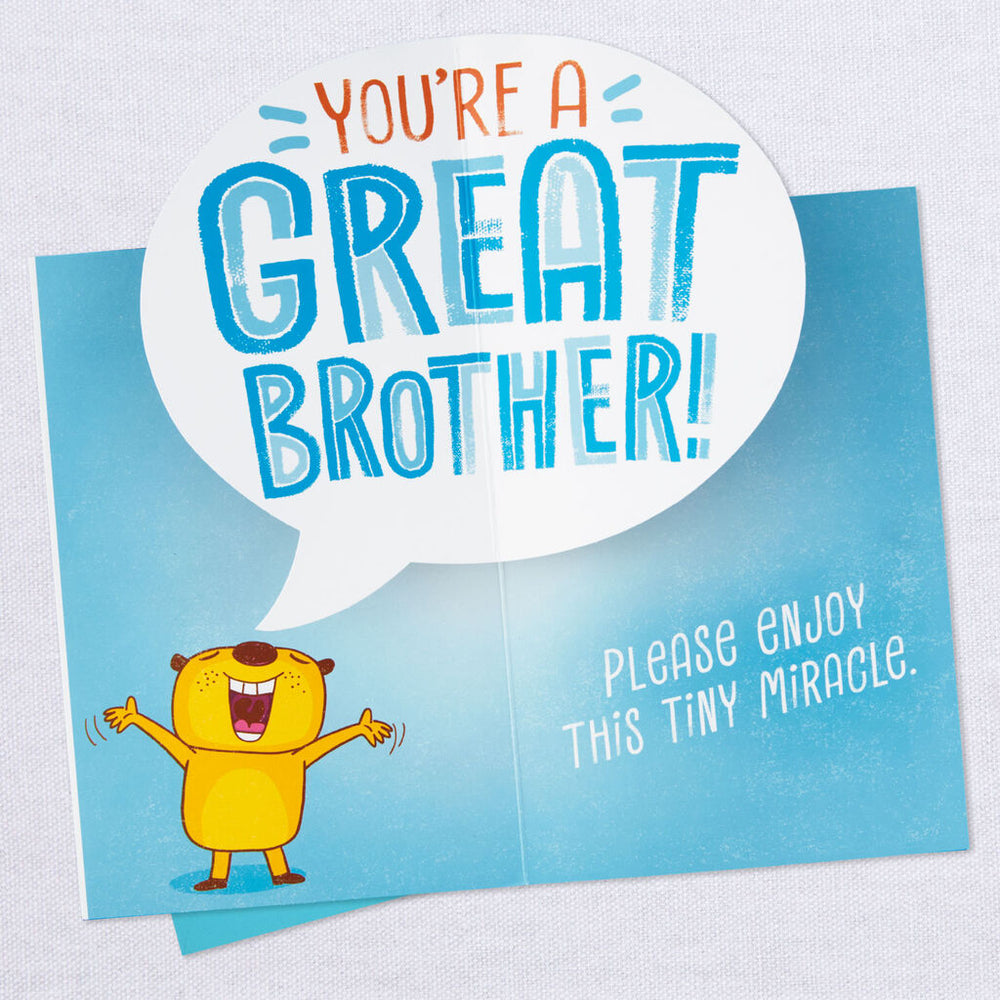 Brother - Tiny Miracle Funny Pop Up Birthday Card
