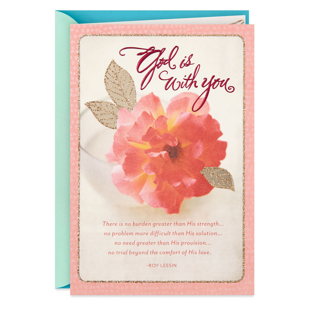 Pink Flower God Is With You Religious Get Well Card