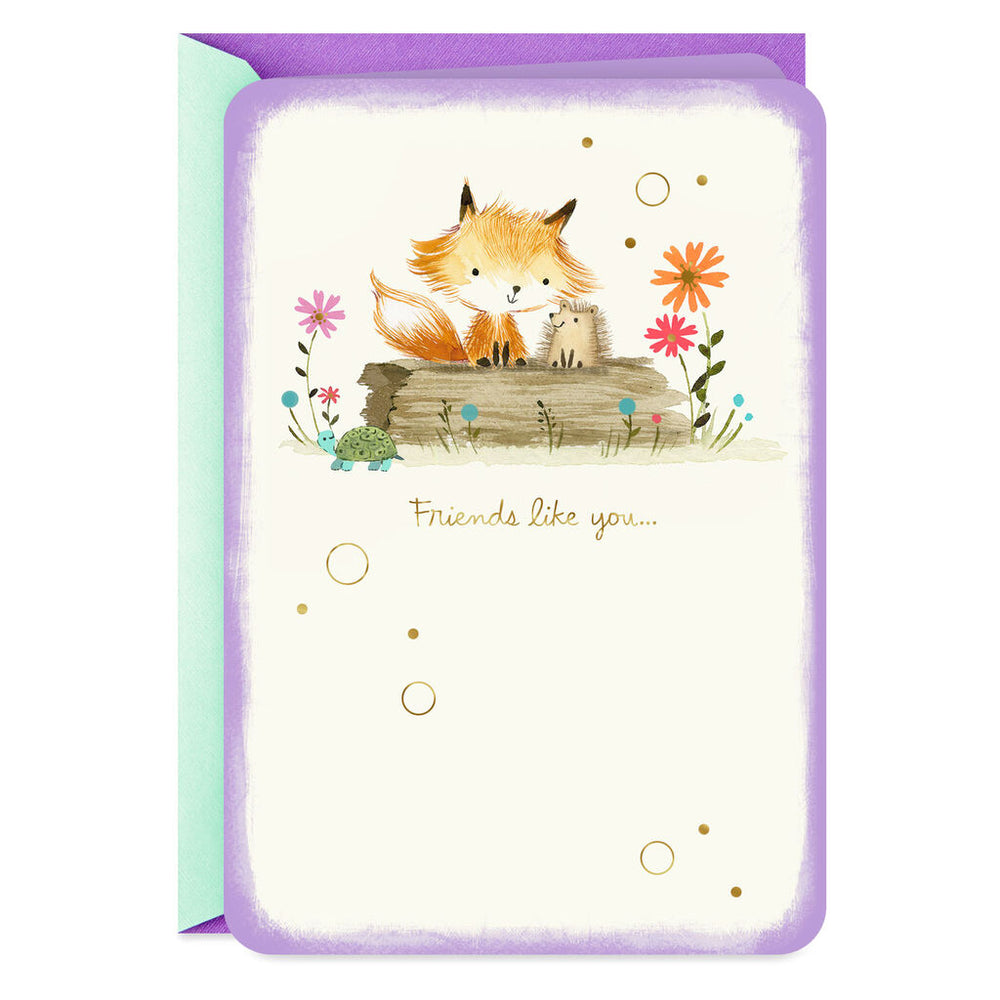 Fox and Hedgehog Friendship Card
