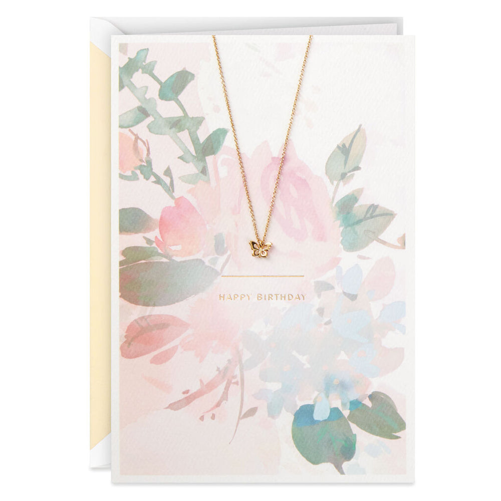 Signature - Beautiful You Birthday Card With Butterfly 14 KGP Necklace