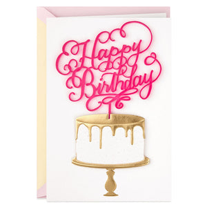 Signature - Calligraphy and Cake Birthday Card