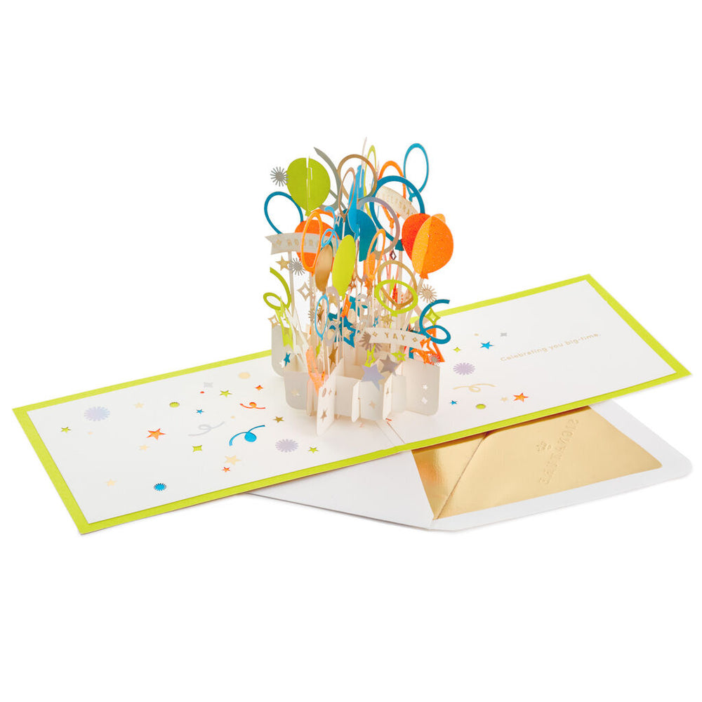 Big-Time Celebration Balloons Signature 3D Pop Up Birthday Card